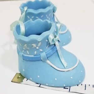 Souvenir Baby Shoes Blue Polka Dot Polymer Clay